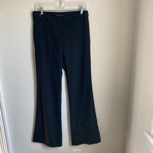 Theory Black Dress Pants Flat Front Flare Leg Sz 6